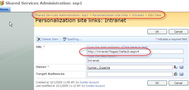 Personalization Site Links Screen