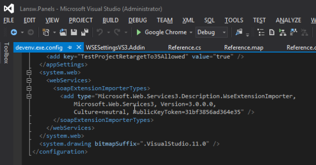 Visual Studio Devenv.exe.config file