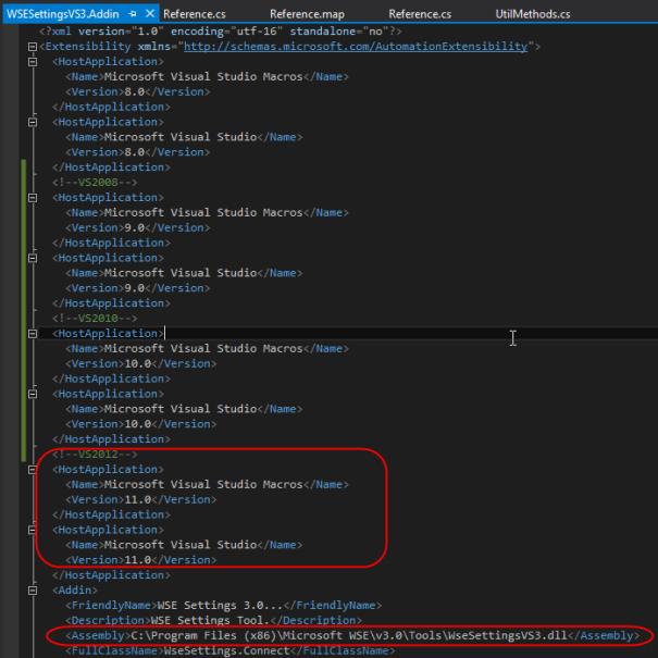 VS2012 WSE3.0 WSESettingsVS3.AddIn file