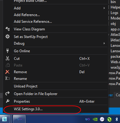 WSE Setting 3.0 on VS2012 menu