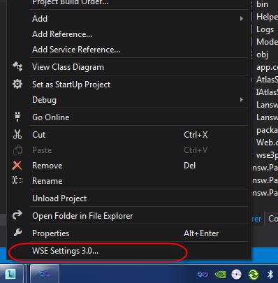 WSE Setting 3.0 on VS2012 menu