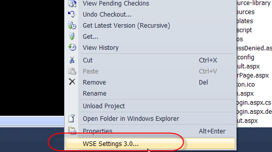 WSE Setting 3.0 under VS2010 project