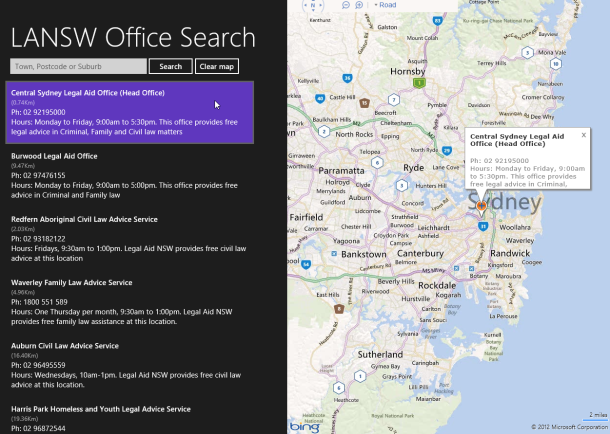 Legal Aid NSW Window8 App