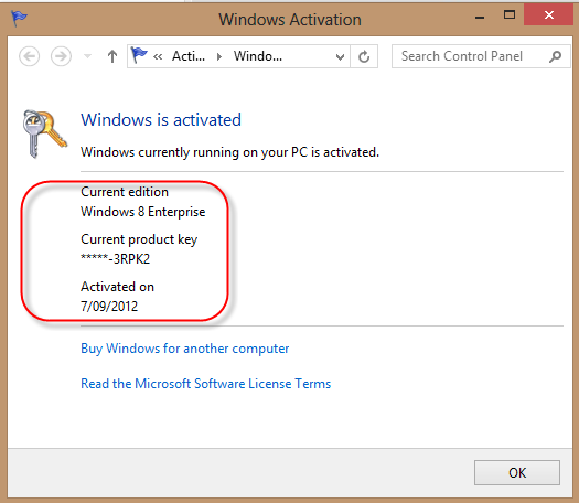 Windows 8 Activation Screen